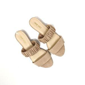Nine West Cream Elastic Slip On Sandals size 7.5